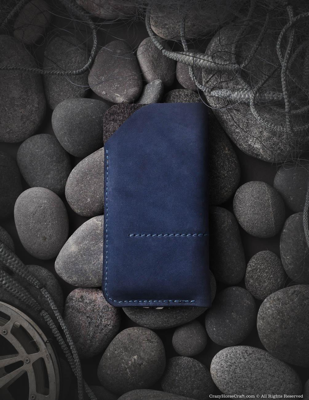 wool felt, iphone Xr, Xs, Xs Max sleeves, iphone leather cover, Leather iphone X plus sleeve, blue, felt, back