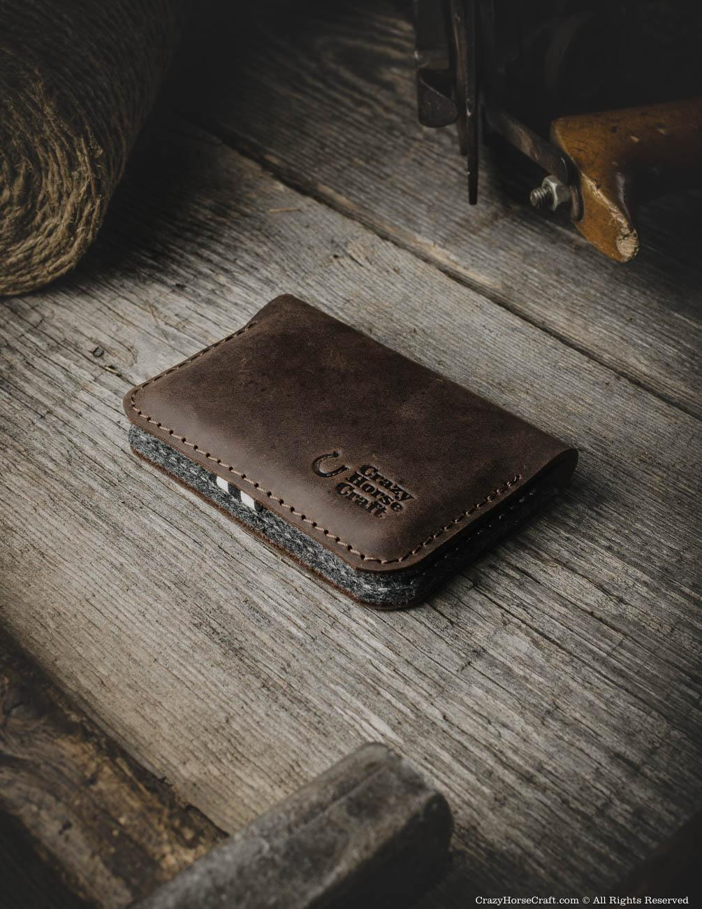 Leather Business Credit Card Holder Wallet Wood Brown Crazy