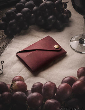 Minimalist leather wallet, marsala red