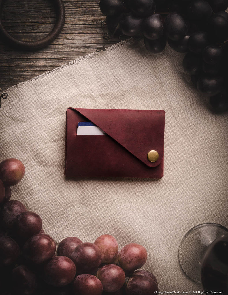 Minimalistic leather wallet cardholder marsala red