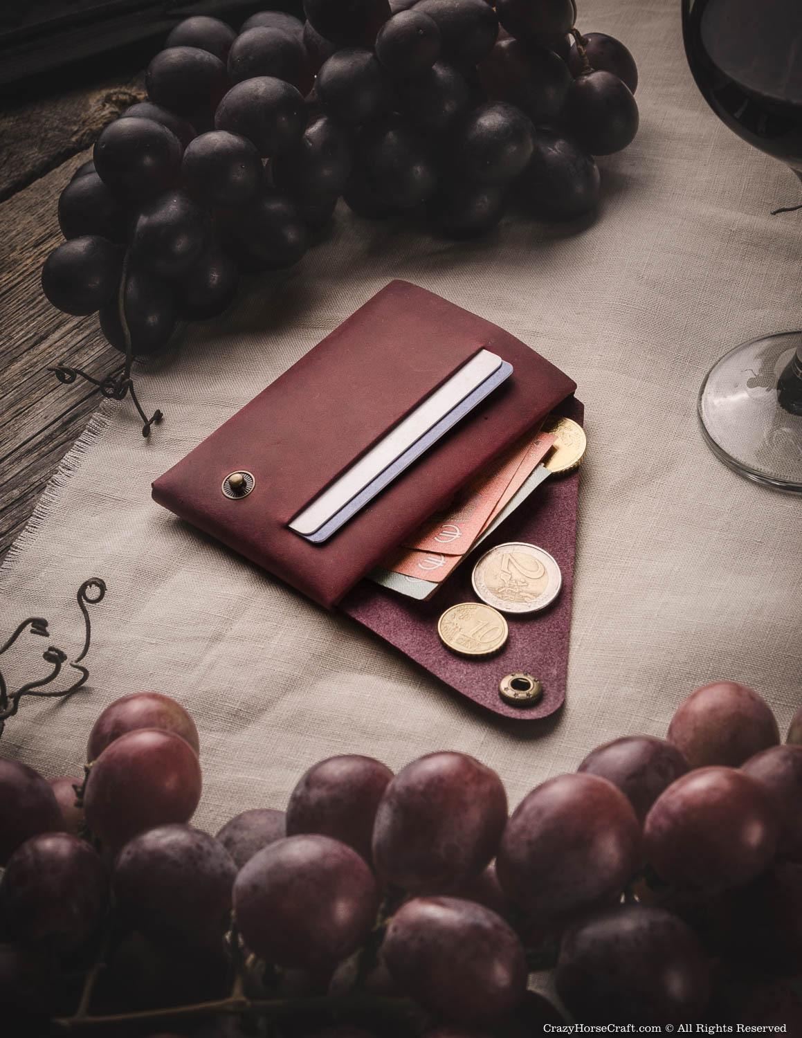 Minimalist leather wallet marsala red