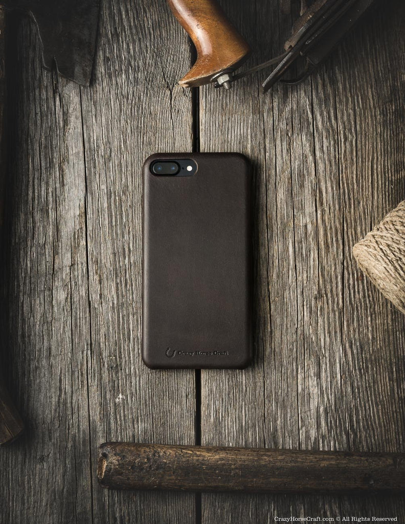 iPhone 7 plus leather case brown distressed  back