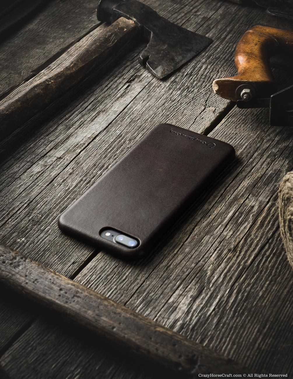 iPhone 8 plus leather case brown distressed side