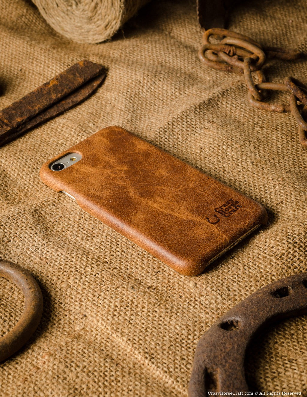 iPhone 7 Leather Cover, Hard Case | Classic Orange