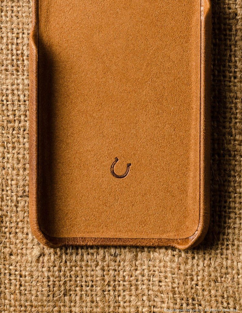 iPhone 7 Leather Cover, Hard Case, Classic Orange, inside
