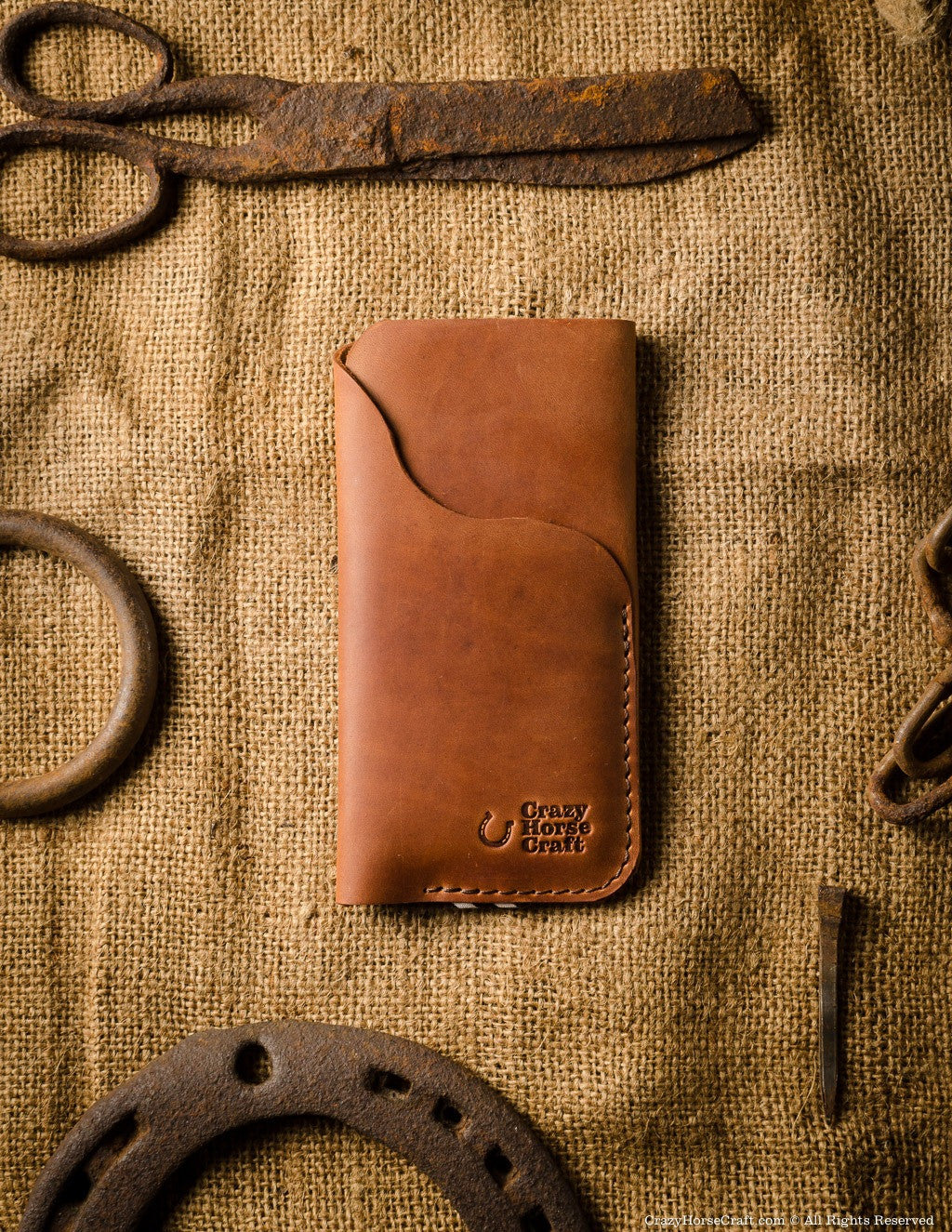 iPhone Leather Case / Wallet with Card Holder | Classic Orange