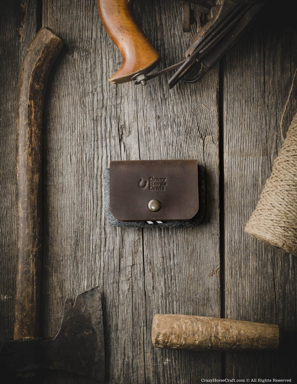 Leather minimalistic card holder, wallet, brown