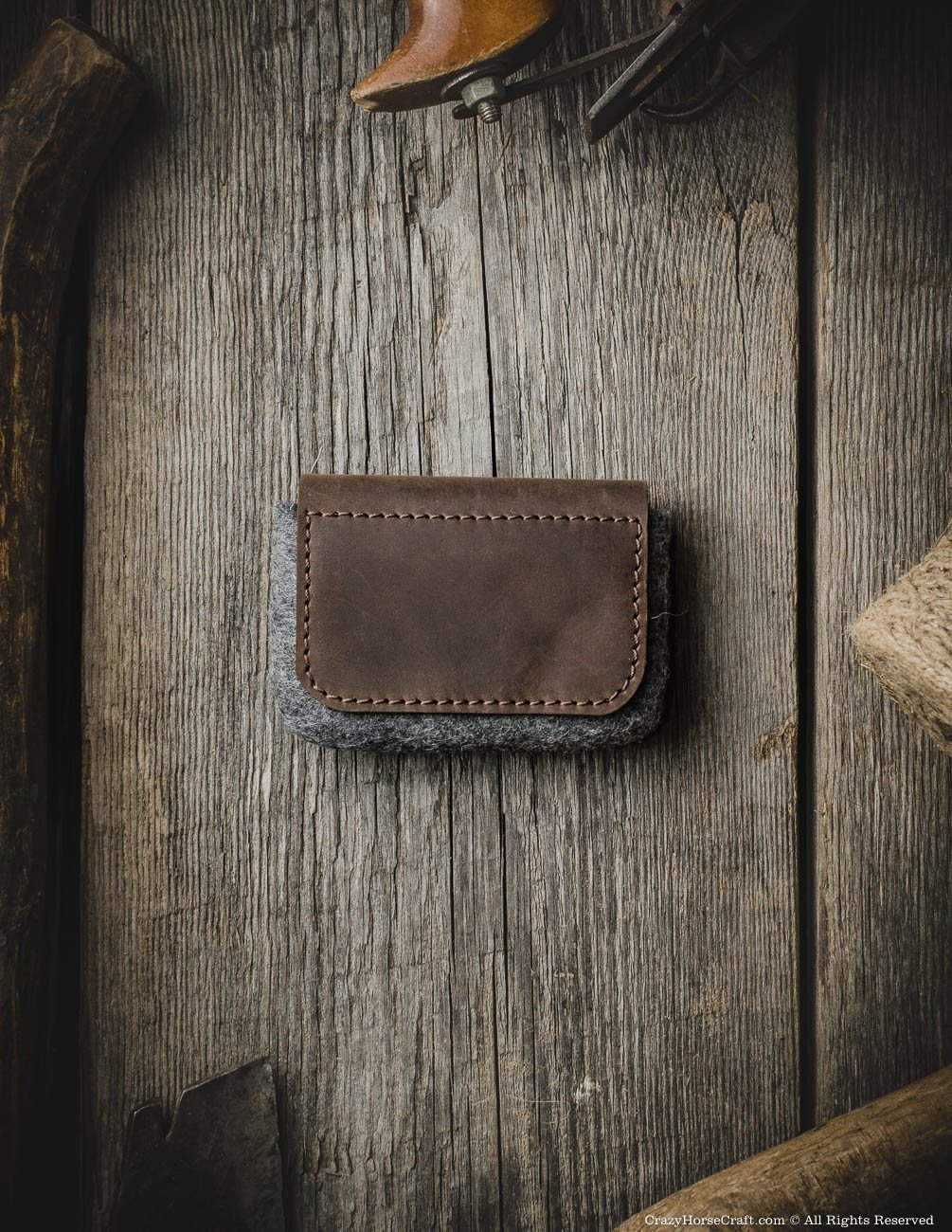 Leather vintage style business card holder, brown back