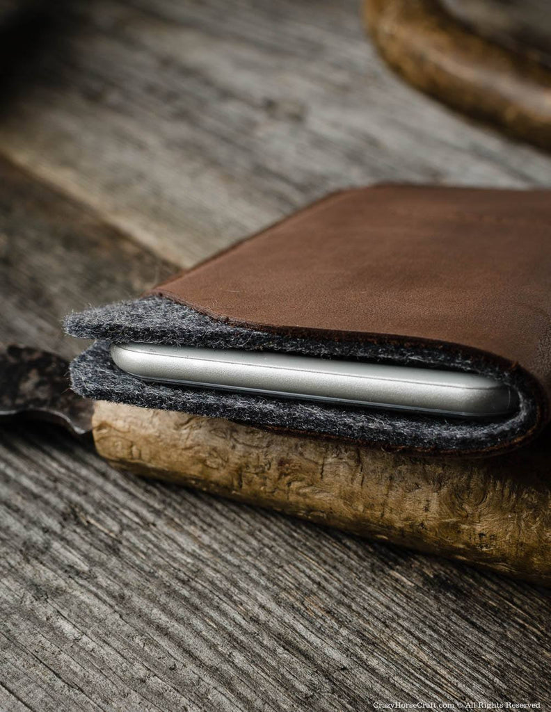 Leather iphone X sleeve, brown, felt inside, with card pockets, newest iPhone Xs, iPhone Xs Max, iPhone Xr case, iPhone XsMax case, new apple 2018