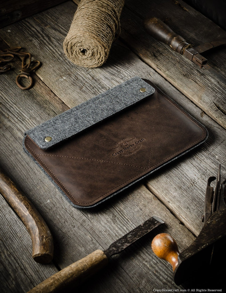 Leather iPad Pro Air Case and Stand Brown side