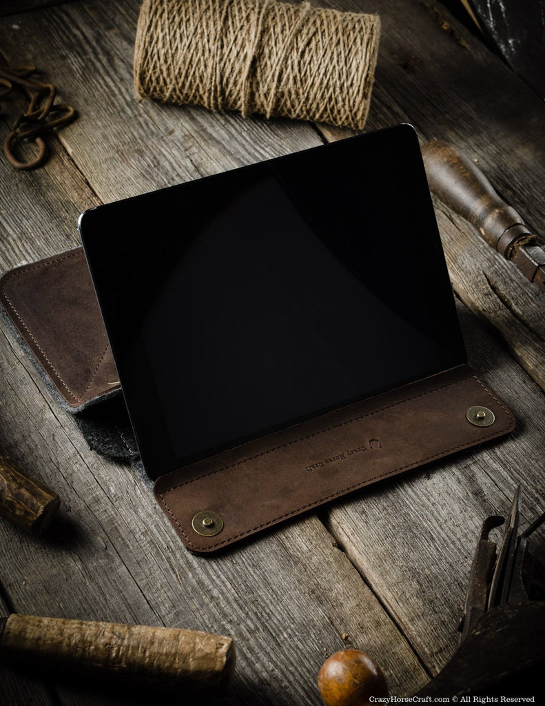 Leather iPad Pro Stand and case Brown