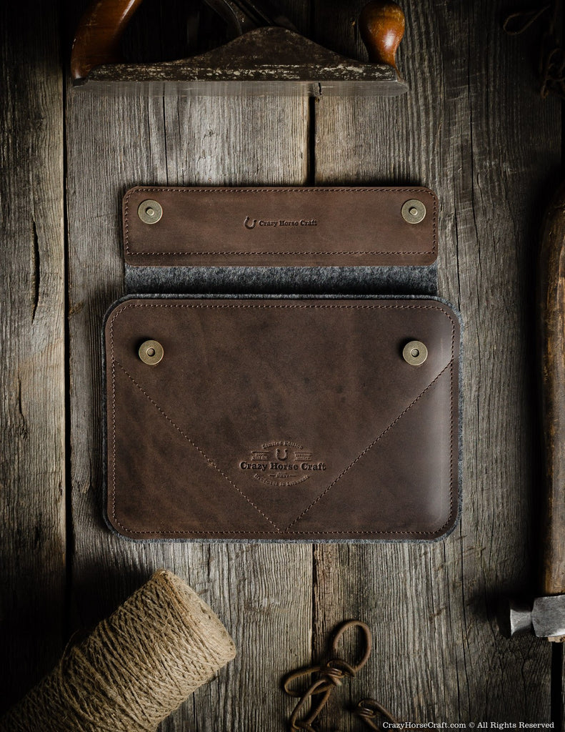 Leather iPad Pro Air Case and Stand Brown front