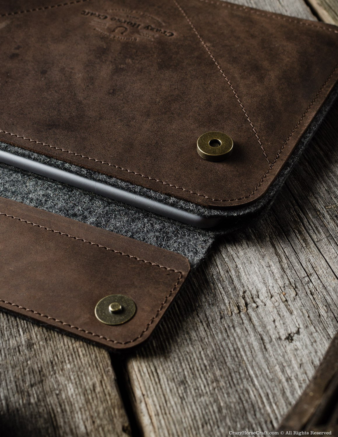 Leather iPad Pro Air Case wool felt inside