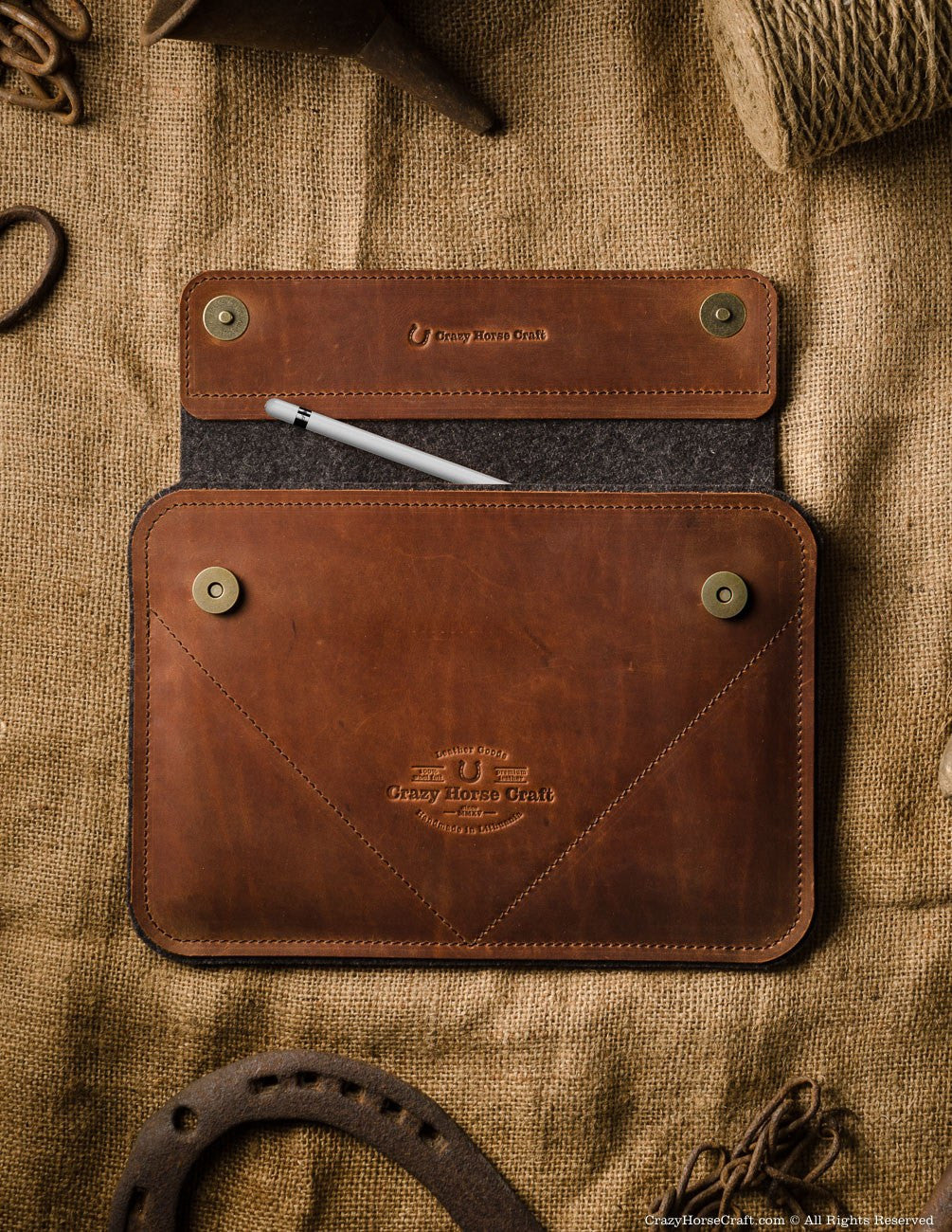 Leather ipad pro case with apple pencil pocket, brown