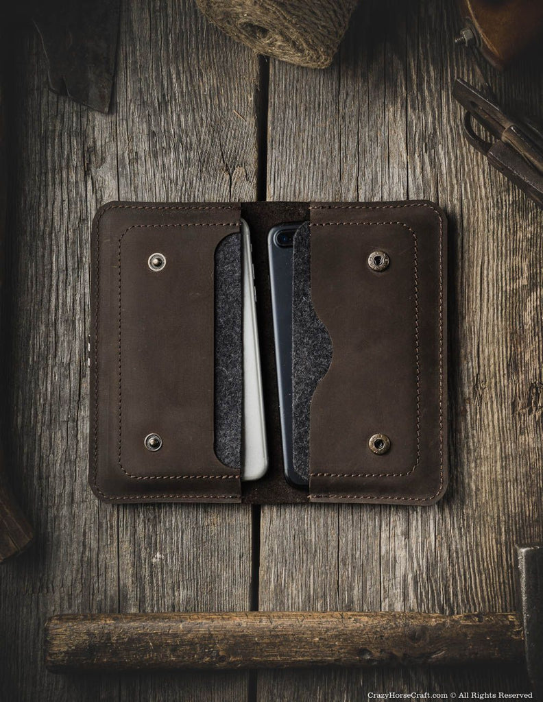 leather iphone 8 plus case for two phones brown inside