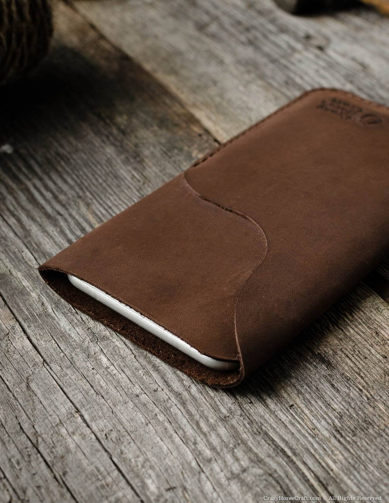 Leather iPhone X Sleeve with Card Pocket front