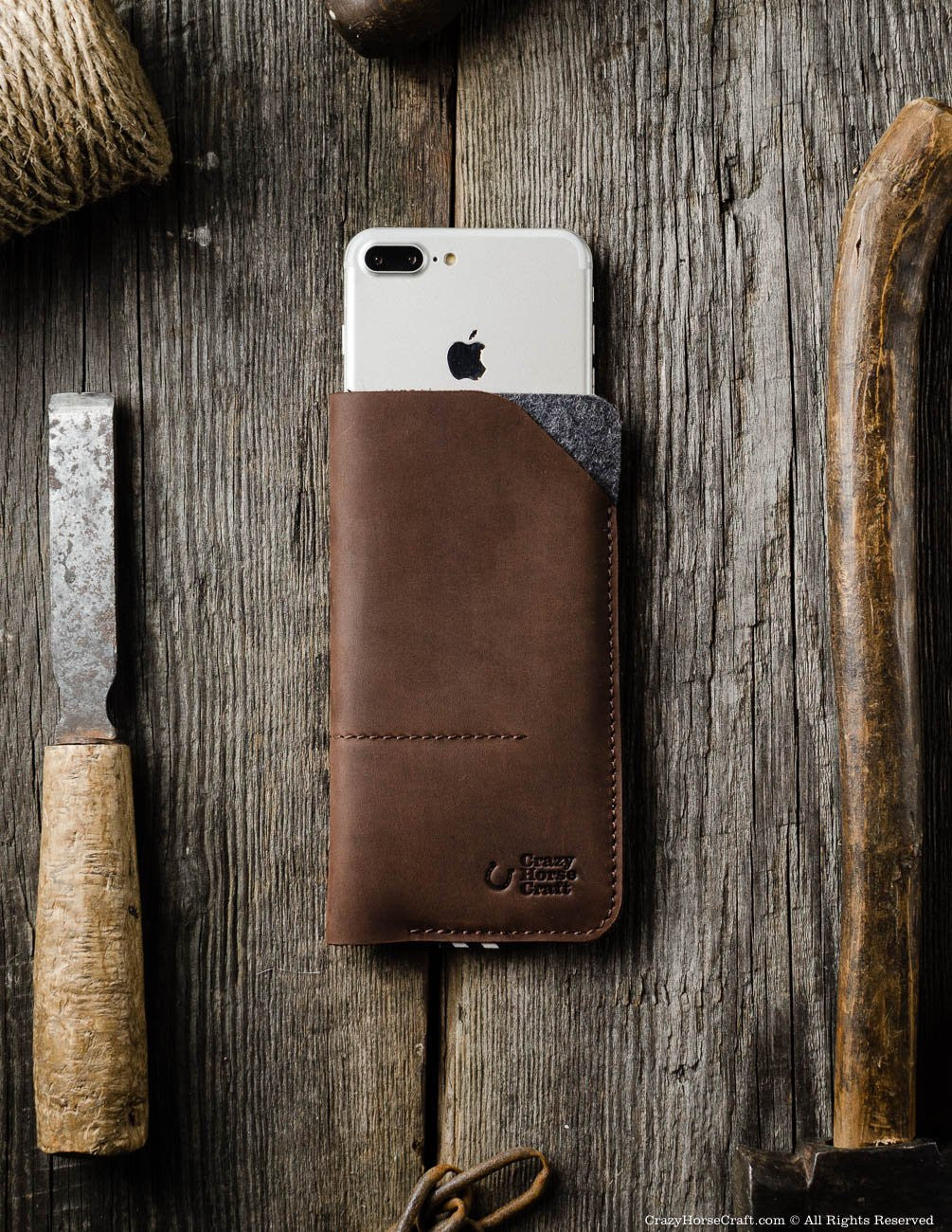 Leather iphone 7 plus case sleeve, brown, felt, front, iPhone Xs, Xr genuine leather case