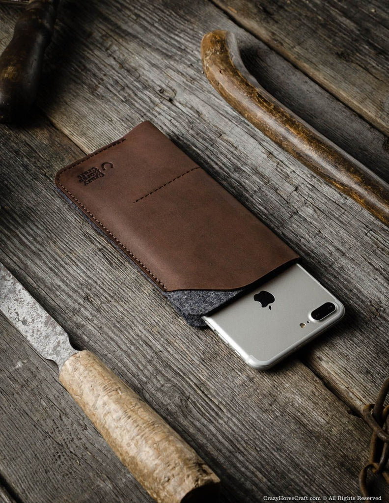 Leather iphone 7 plus sleeve, wallet brown, felt, with cardholder, 2018 iPhone Xs, iPhone Xs Max, iPhone Xr sleeve