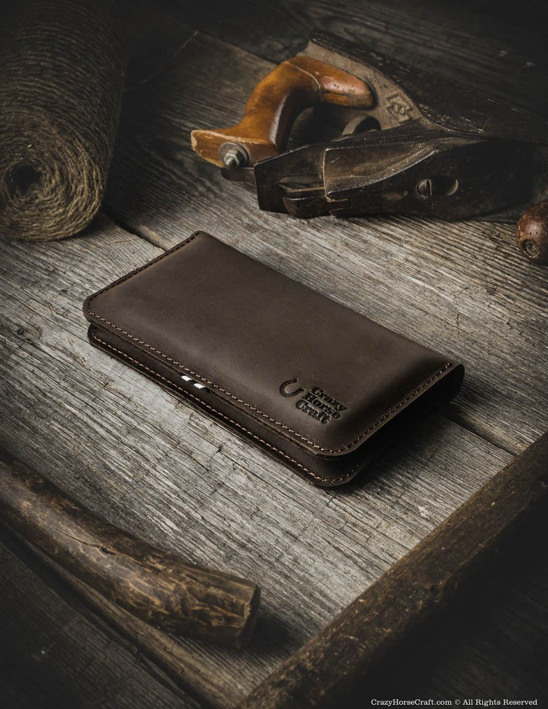 Leather Phone Case >> Leather Iphone Wallet Case For Two Phones Wood Brown Crazy