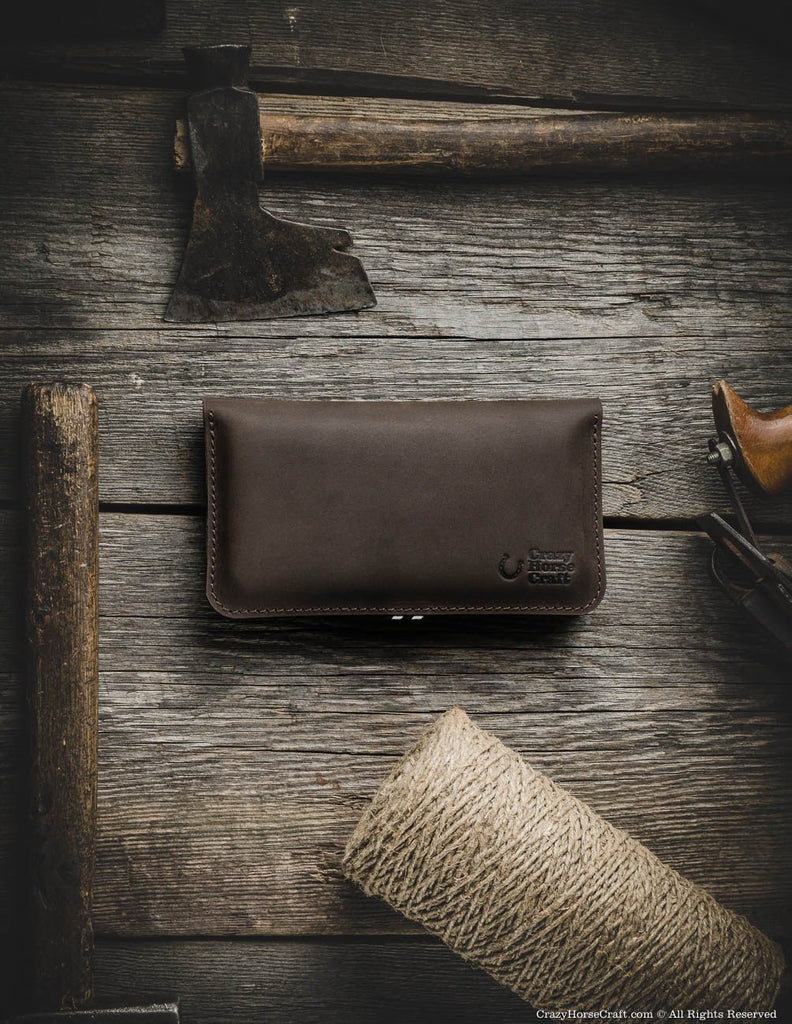 Leather iphone 8 plus wallet brown front