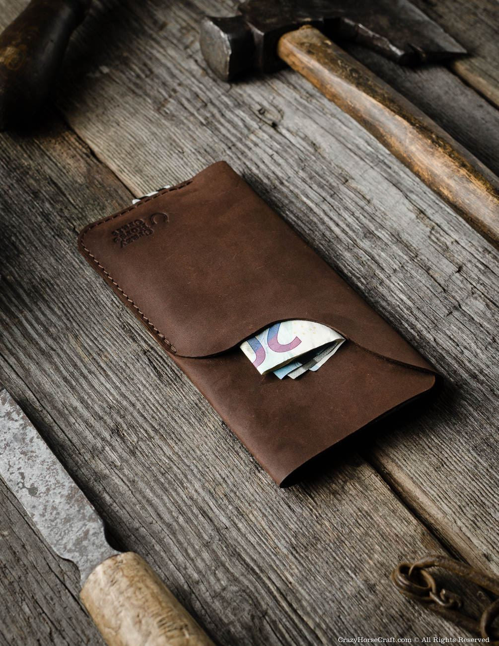 Leather iPhone 8 plus Case wallet brown