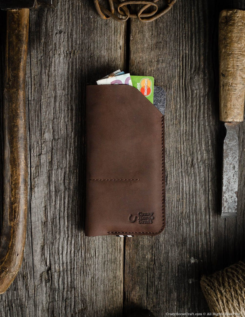 Leather iphone X case sleeve, brown, with credit card and cash pockets, iPhone Xr wallet, iPhone Xs Max leather sleeve, wallet, cover