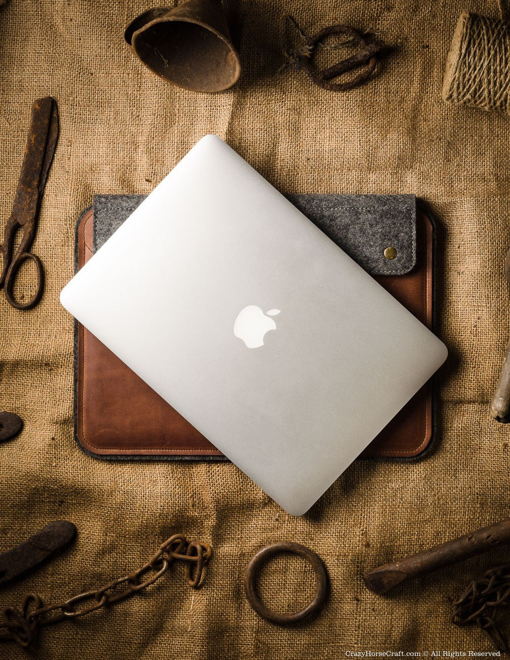 Leather macbook pro with touch bar case sleeve brown front