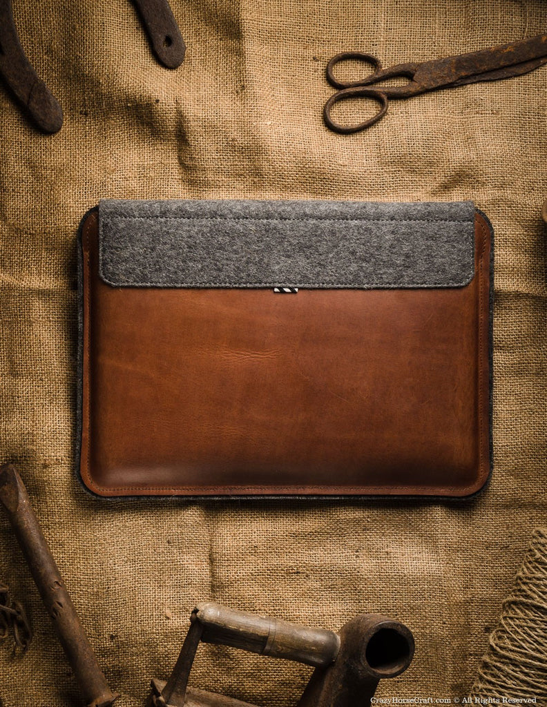 Leather macbook pro retina case sleeve brown back