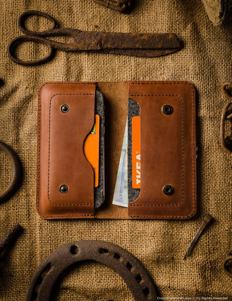 Leather two iphone 8 plus case / wallet, orange, inside