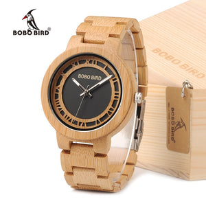 BOBO BIRD Men's Bamboo Wood Quartz Watch Unique Design Dial With Adjustable Bamboo Band Wristwatch