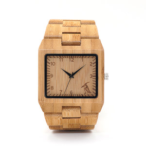 BOBO BIRD Rectangle Quartz-watch Bamboo Wristwatch Bracelet Bamboo Strap