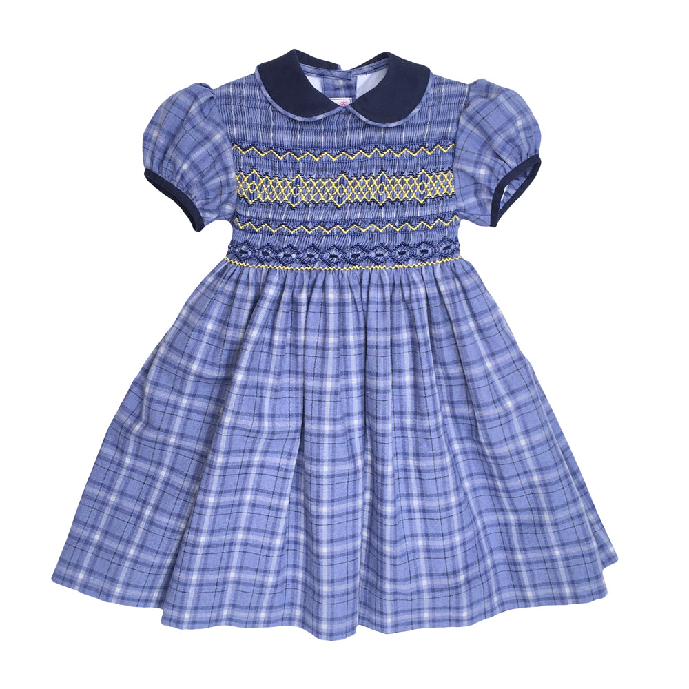 Blue Small Plaid Brushed Cotton