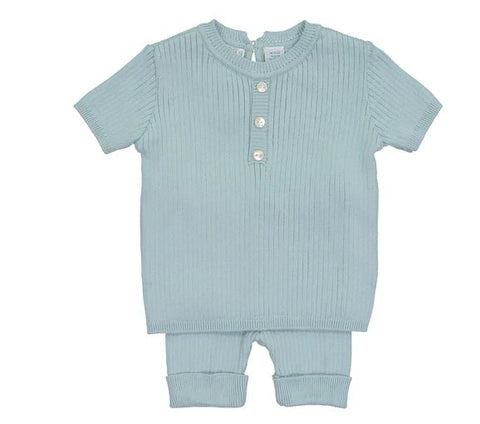 Mock Button Short Ribbed Set Light Blue