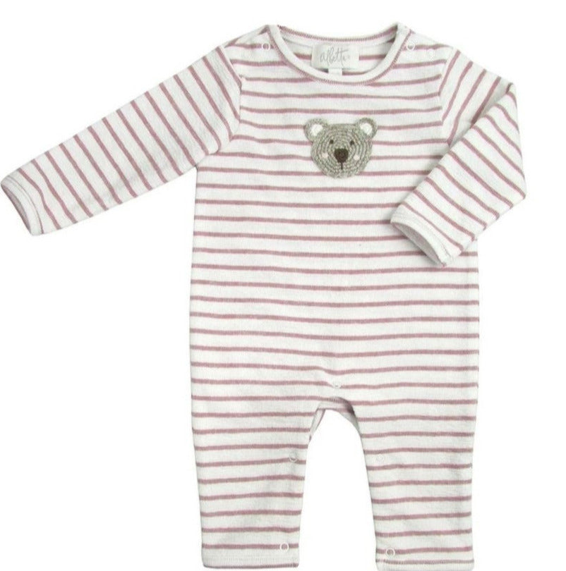 Dusty Pink Bear Babygro