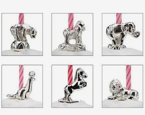 Circus Animal Silver Candle Holder Set