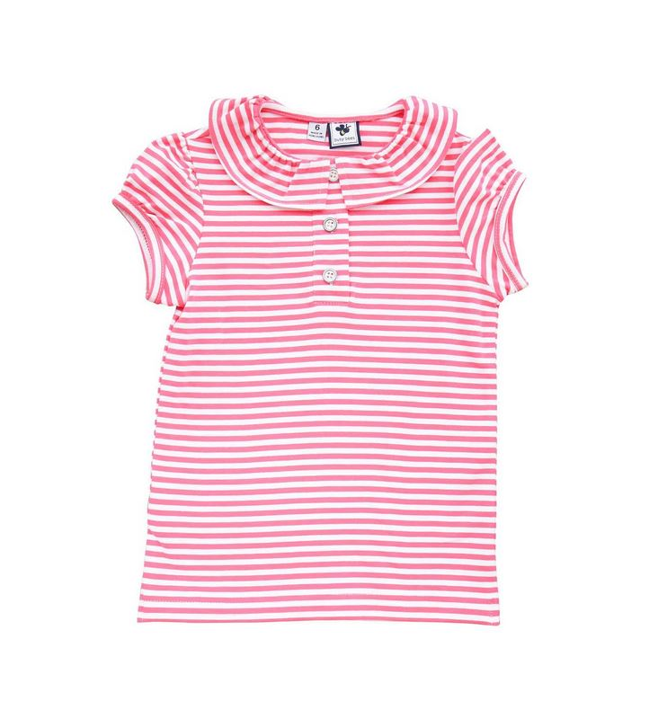 Ruffle Neck Polo Pink