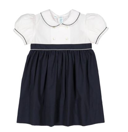 Double Breasted Dress Navy/White