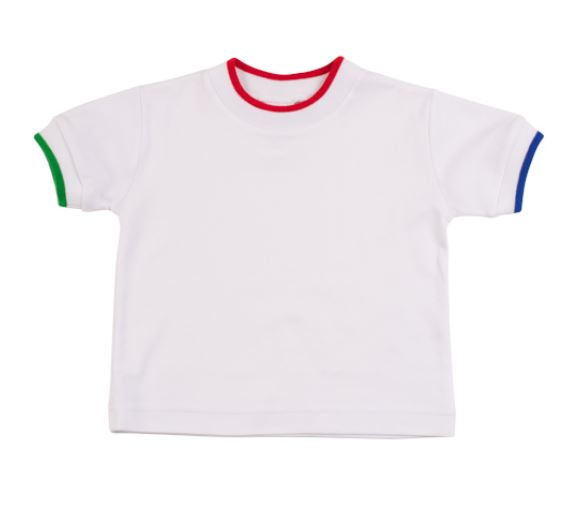 White Tee with Multi Colored Trim