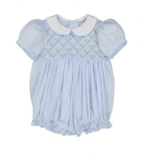 Diamond Smocked Rosebud Bubble