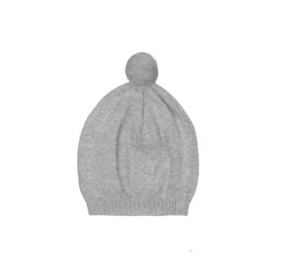 Pom Pom Cable Knit Hat Grey