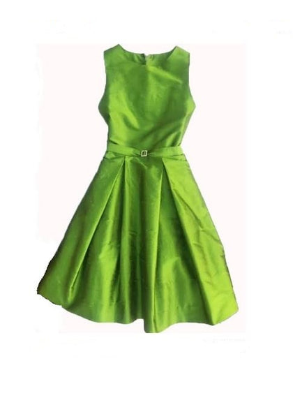 Silk Box Pleat Dress Green