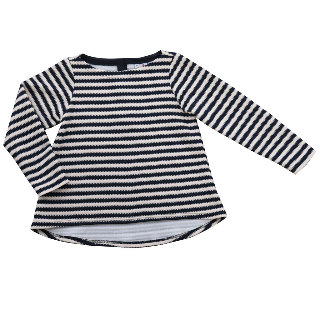 Hi Lo Top - Navy Cream Stripe