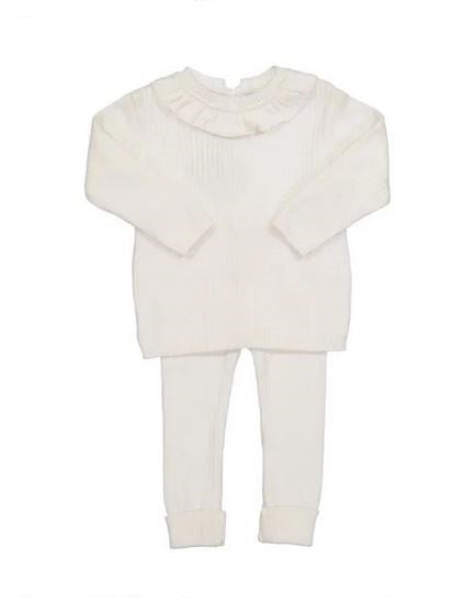 Ruffle Collar Ribbed Knit Set Ivory