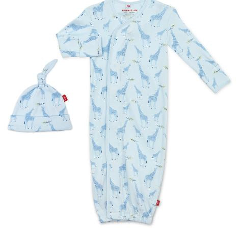 Jolie Giraffe Organic Cotton Gown & Hat Set : Blue