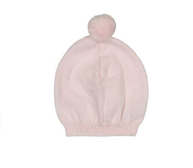 Pom Pom Cable Knit Hat Light Pink