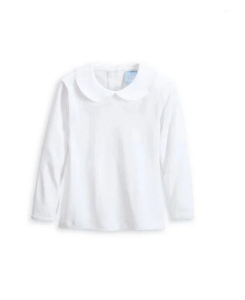 Long Sleeved Peter Pan Collar Tee White