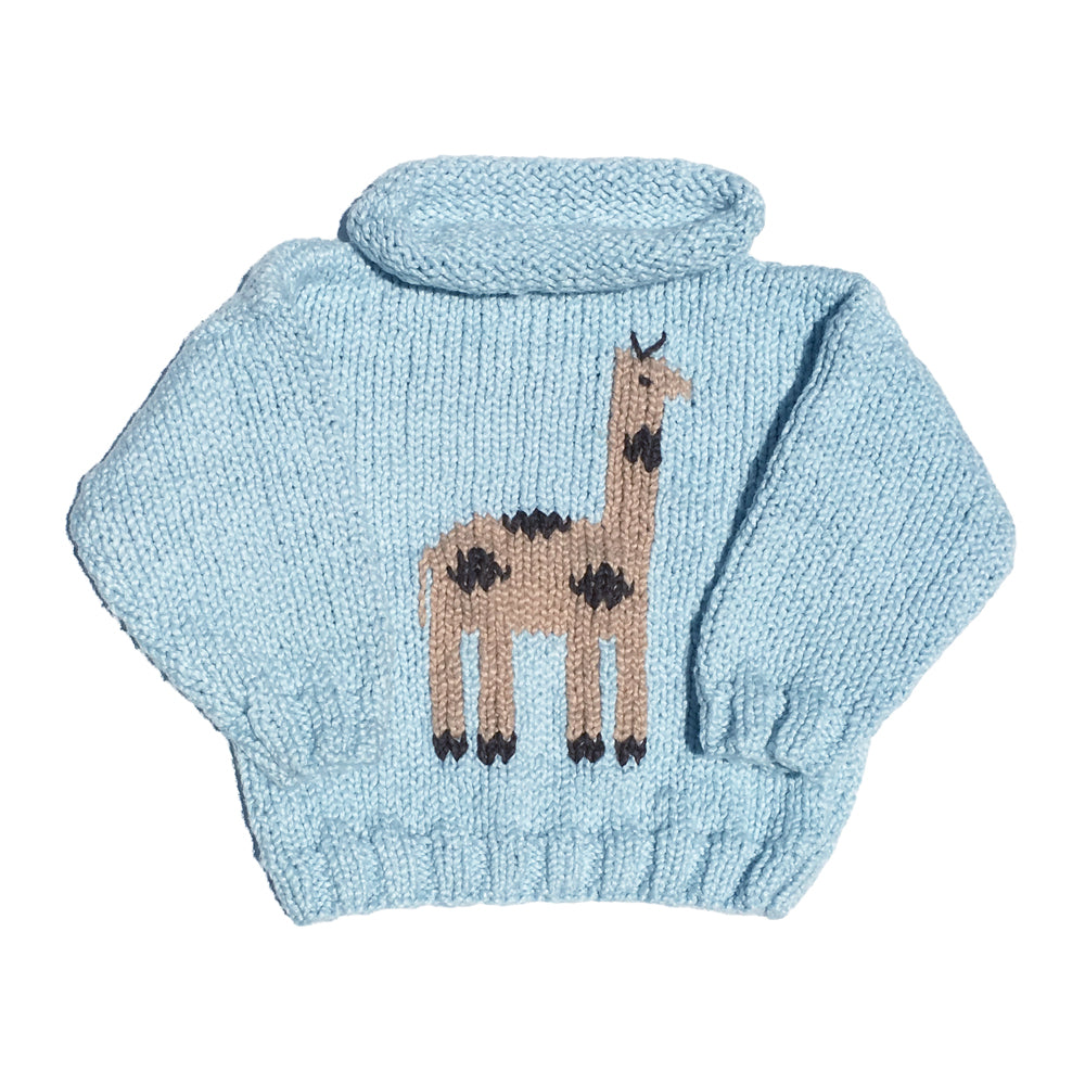 Giraffe Blue Rollneck Sweater