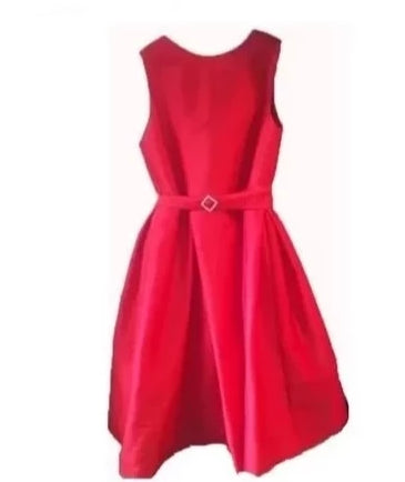 Box Pleat Dress Red