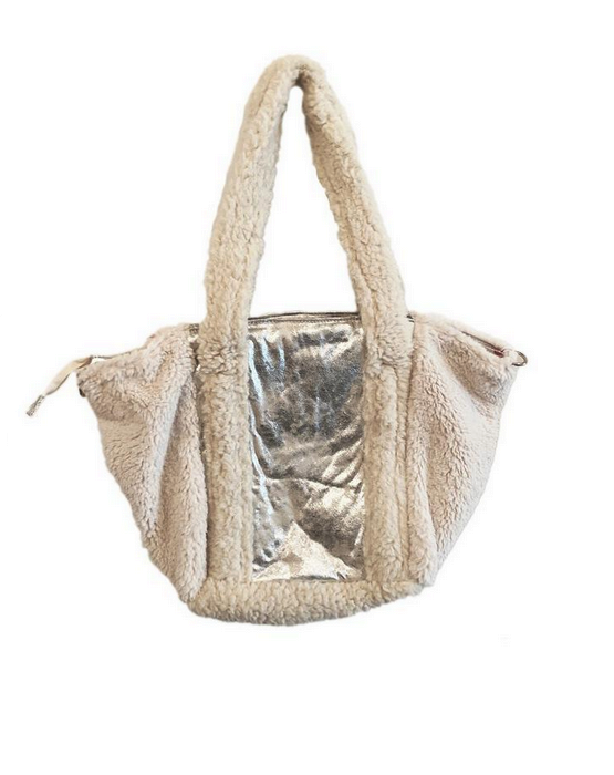 Sherpa Tote Ivory/Silver