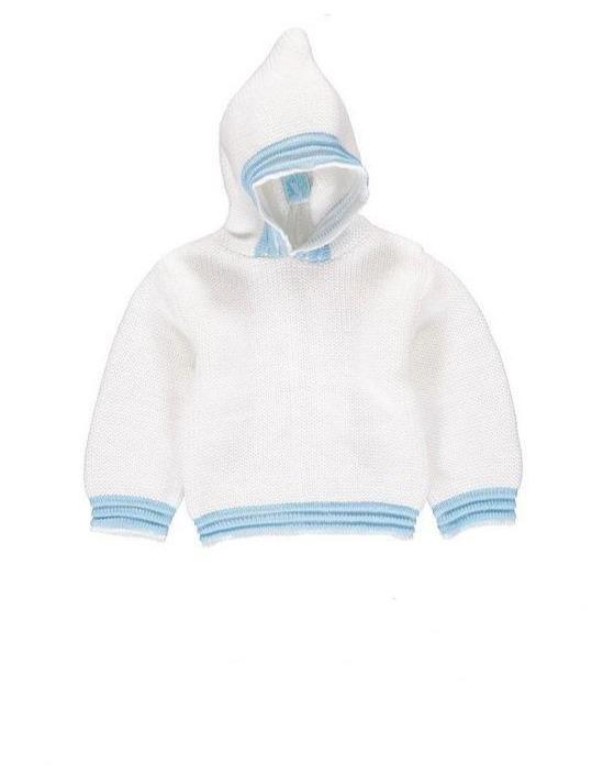 Zip Back Hoodie White and Blue